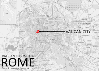 Map showing location of Vatican City within Rome