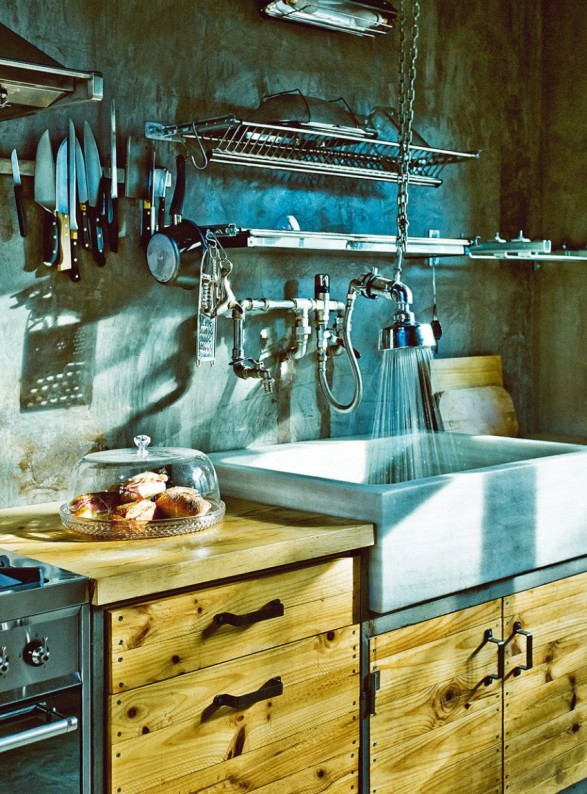 cocina vintage e industrial