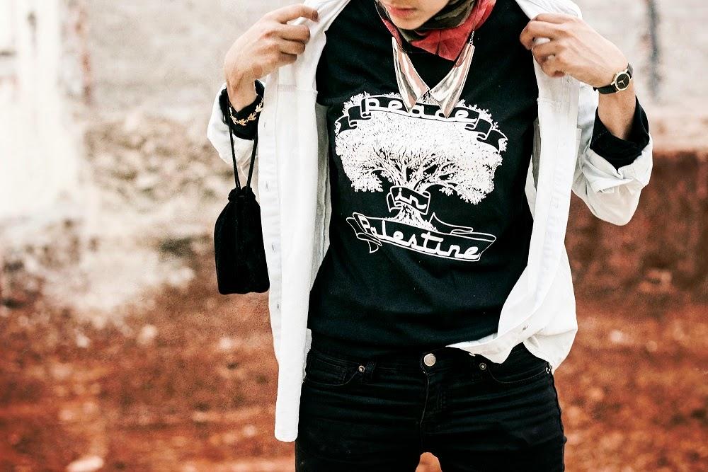 fashion, social action, palestine, israel, boycott israel, palestine shirt, peace shirt