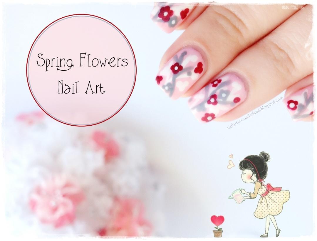 Spring Flowers Nail Art - Bahar Çiçekleri Tırnak Süslemesi