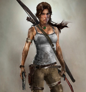 Lara Croft in the new reboot, a woman fighting for her life.