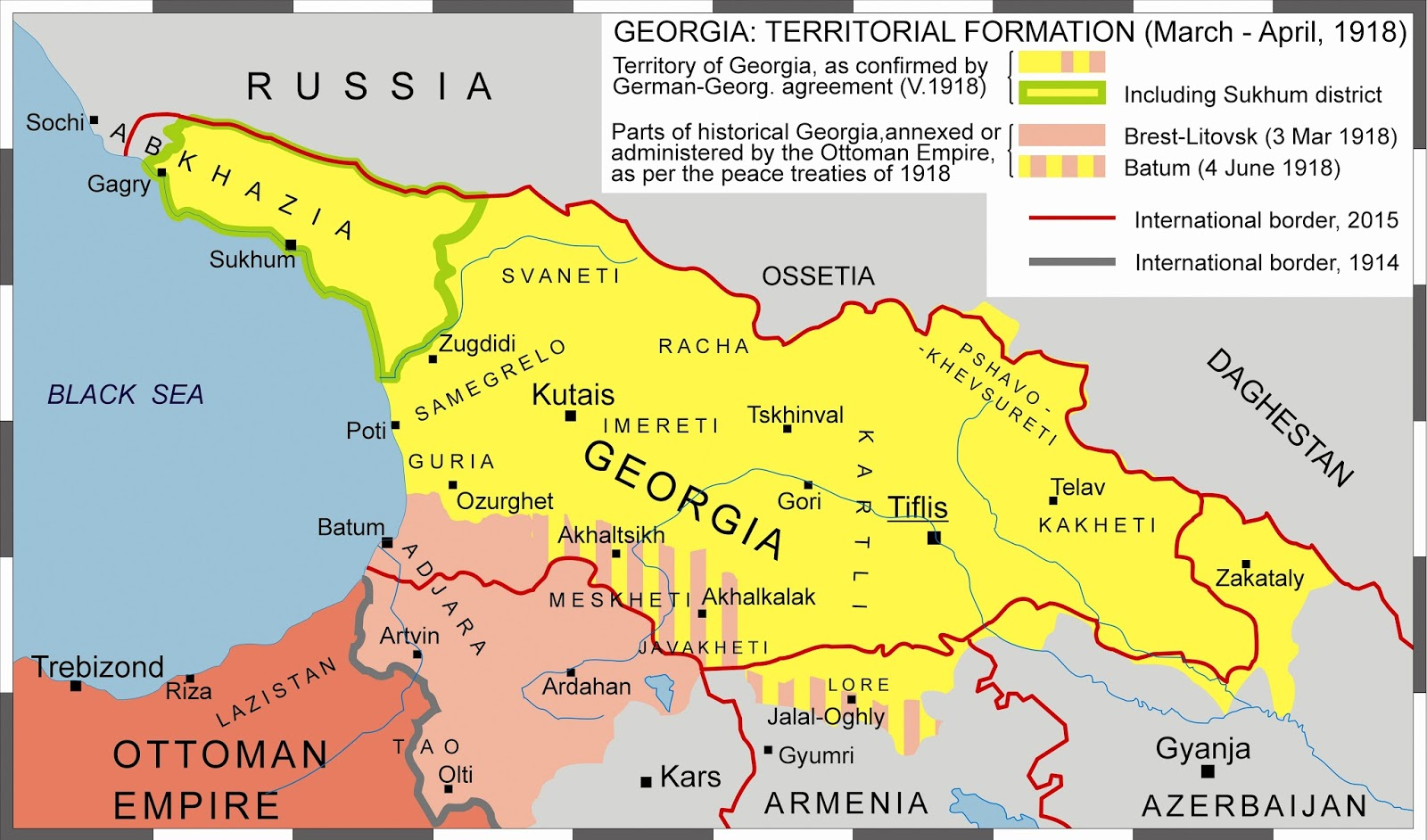 The Shrinking Of Georgian Ethnocultural Territory During The Last - Georgia map 1918