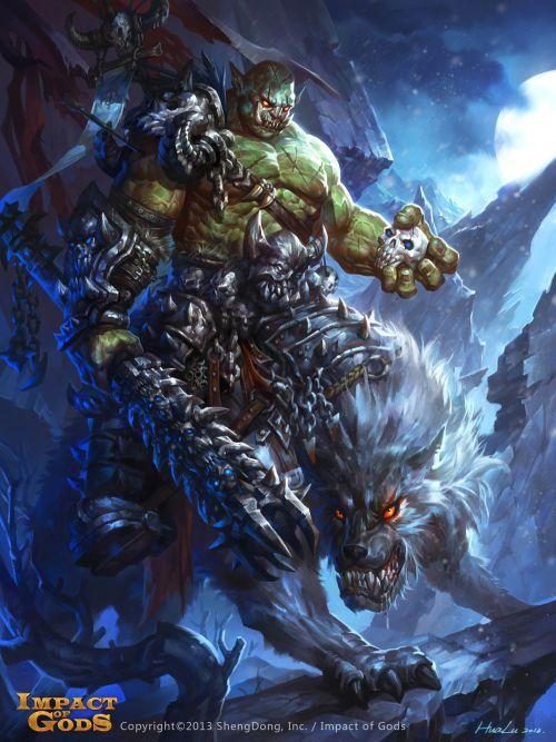 Lu Hua ilustrações arte conceitual fantasia games Orc