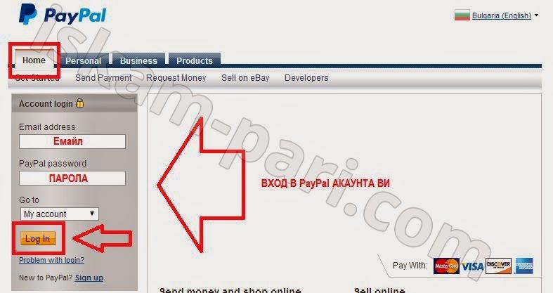 Vhod v akaunta na PayPal.