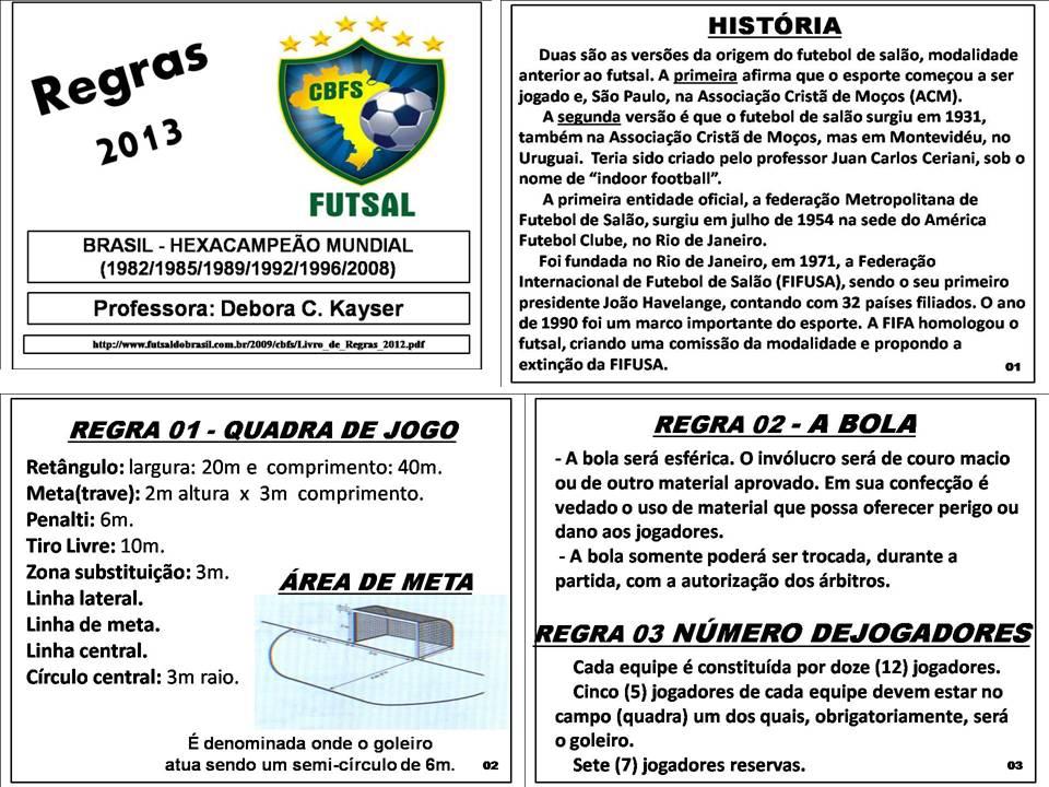 8f2ea7ff17 2º Bimestre - FUTSAL - Regras oficiais - 2013