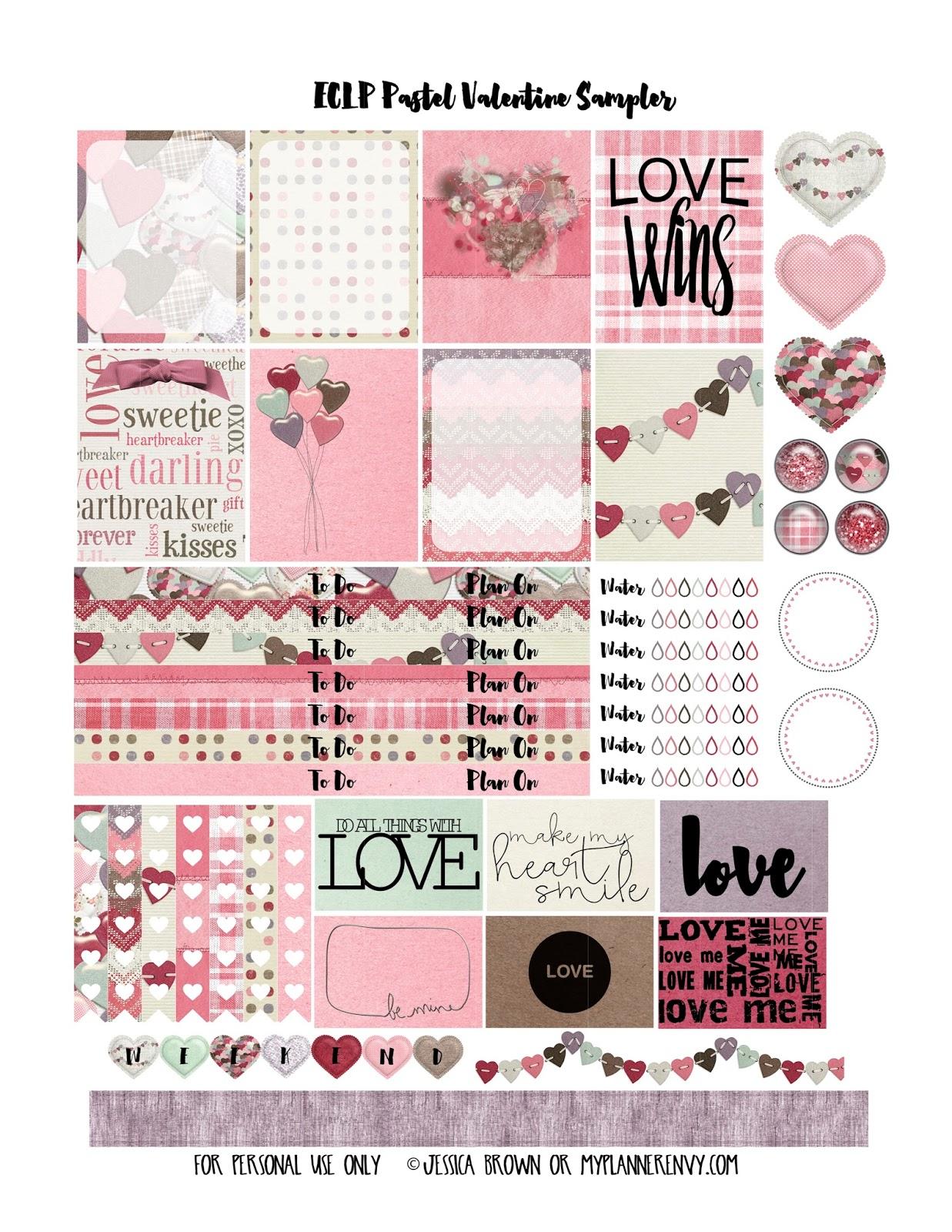 Pastel Valentine Sampler - Free Planner Printable | My Planner Envy