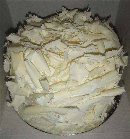 Shaved white chocolate wedding cake
