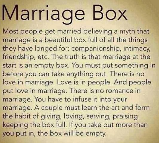 Marriage box most people get married believing a myth that marriage is a beautiful box full of - Nine must have things for a couple to be happy ...