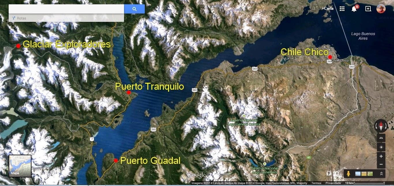 Mapa de Puerto Tranquilo a Chile Chico