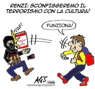 Cultura, Renzi, terrorismo, ISIS, satira vignetta