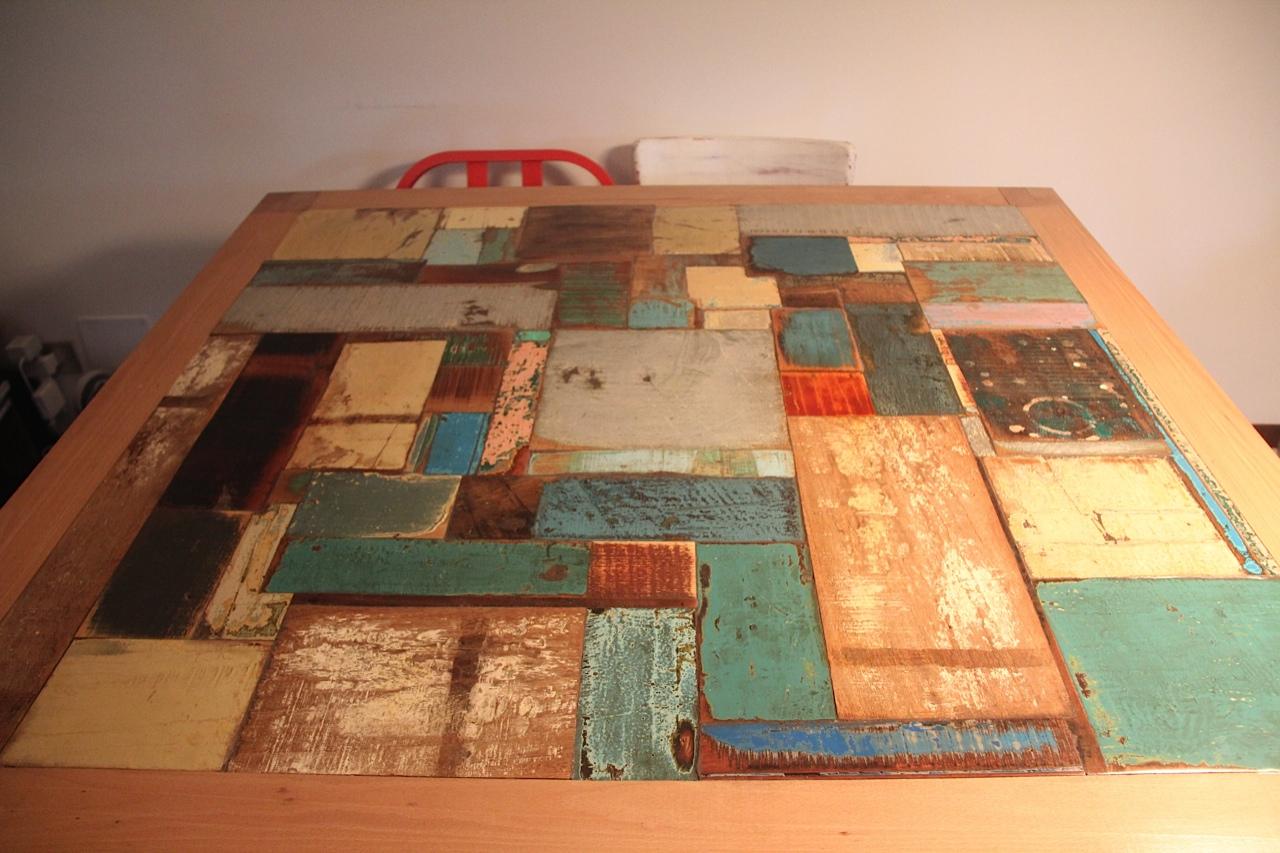 Estremi tavolo pranzo di joss irit in faggio massello e - Tavolo legno riciclato ...