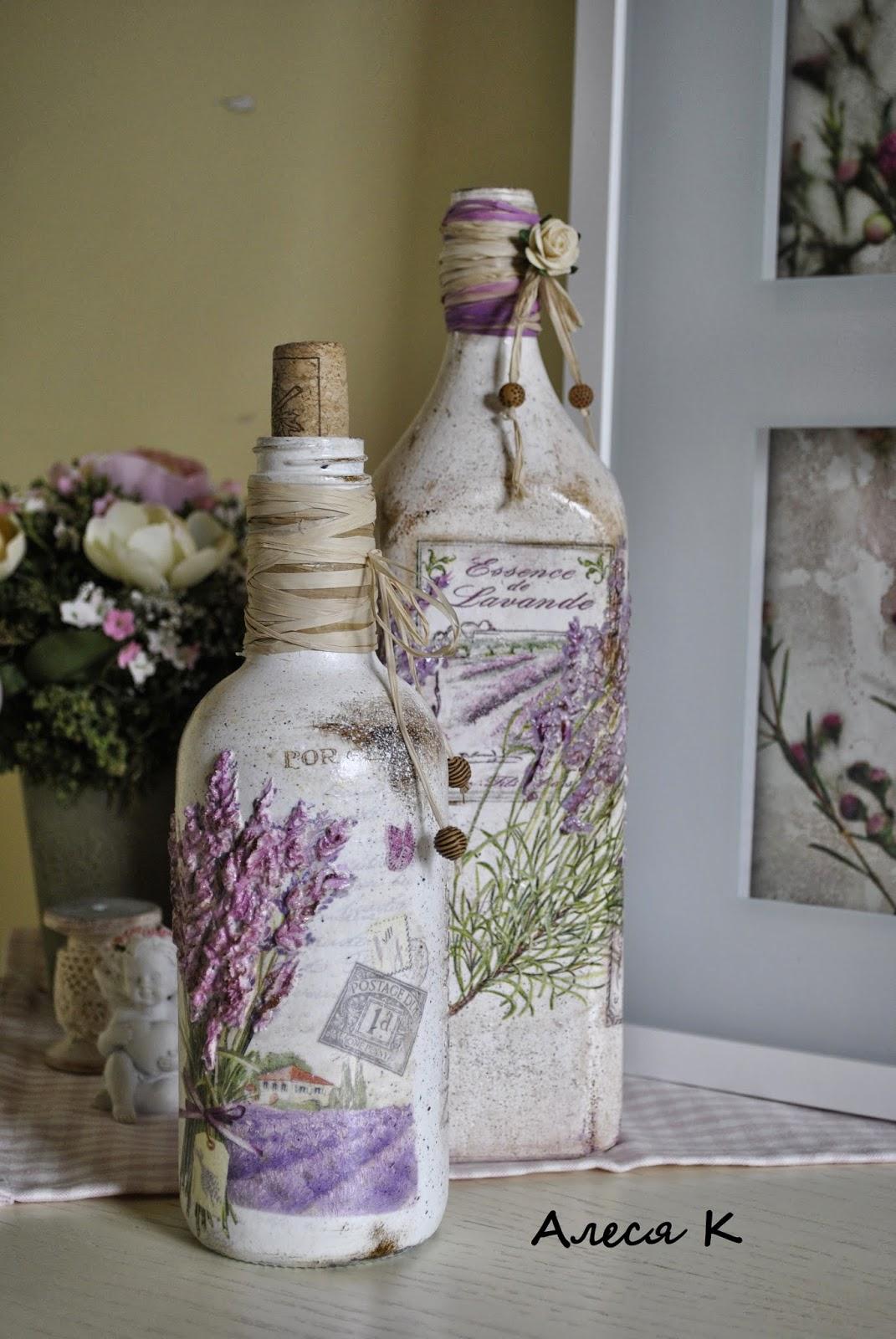Бутылка декупаж лаванда