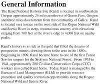 General Information about Rand, Oregon