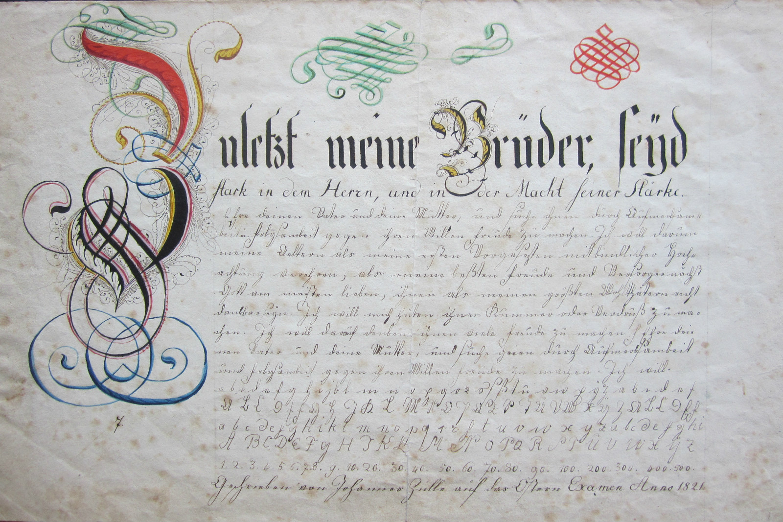 A Vibrantly Illuminated Fraktur Vorschrift From 1821 The Text Is Ephesians 610 12 And Followed By Lowercase Alphabet An Uppercase