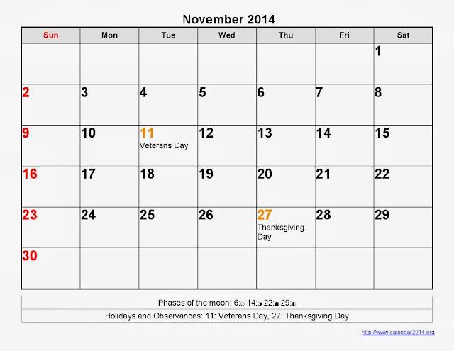 November Calendar 2014 Printable : November calendar printable moon phases