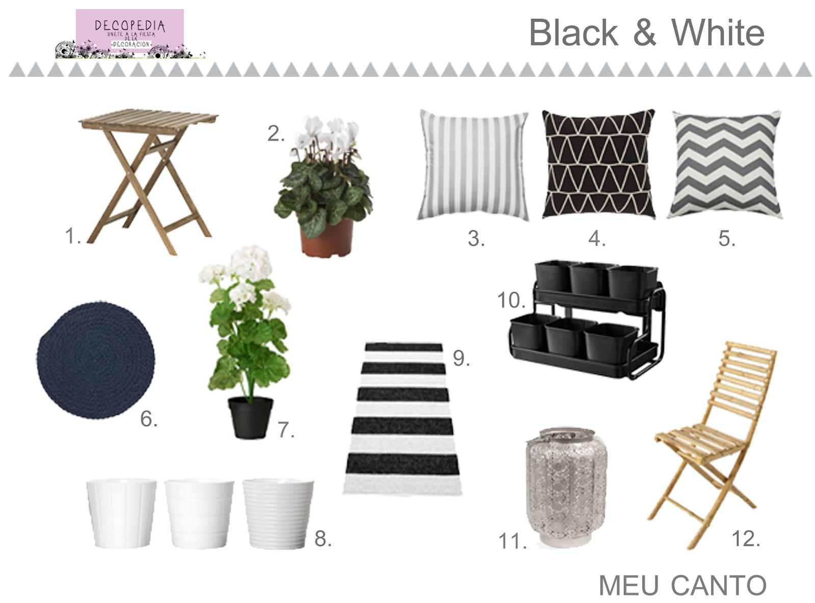 Mobiliario blanco y negro para terrazas