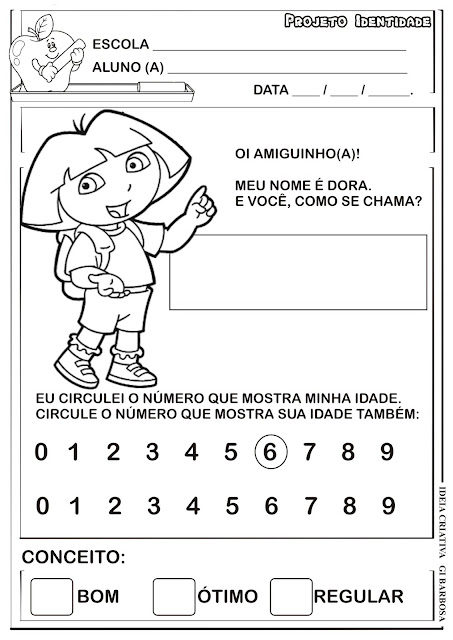 Atividade Projeto Identidade Dora Aventureira