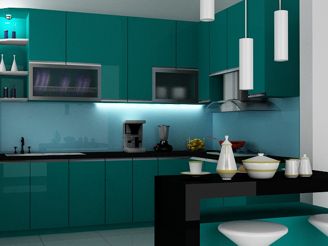 Kitchenset pelangi desain interior kitchen set for Kitchen set hijau