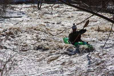 making my way down the Vermillion river at 2000cfs, water is way up in the trees, Chris Baer, Minnesota,