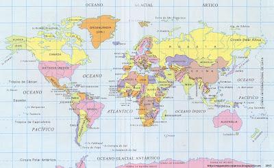 Mapamundi, division politica del mundo
