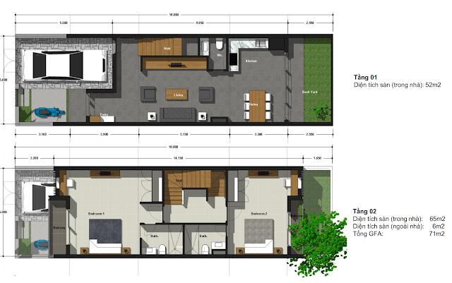 mặt bằng tầng 1,2 liền kề green bay village