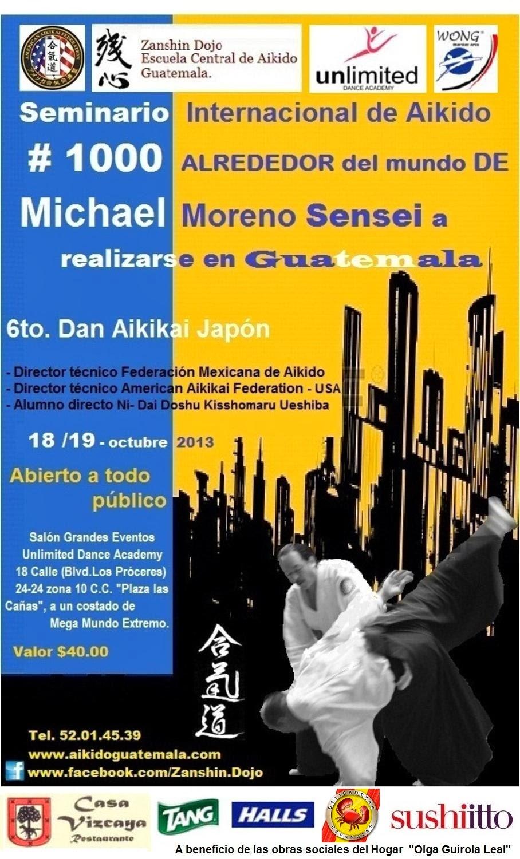 Afiche 10mo. Seminario Zanshin Dojo Aikido Guatemala