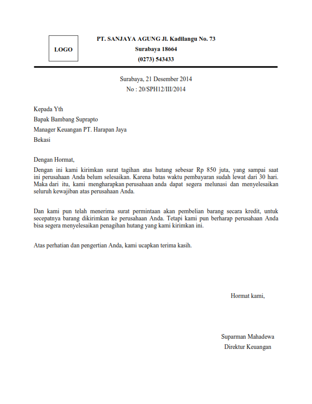 Contoh Surat Penagihan Hutang Perusahaan