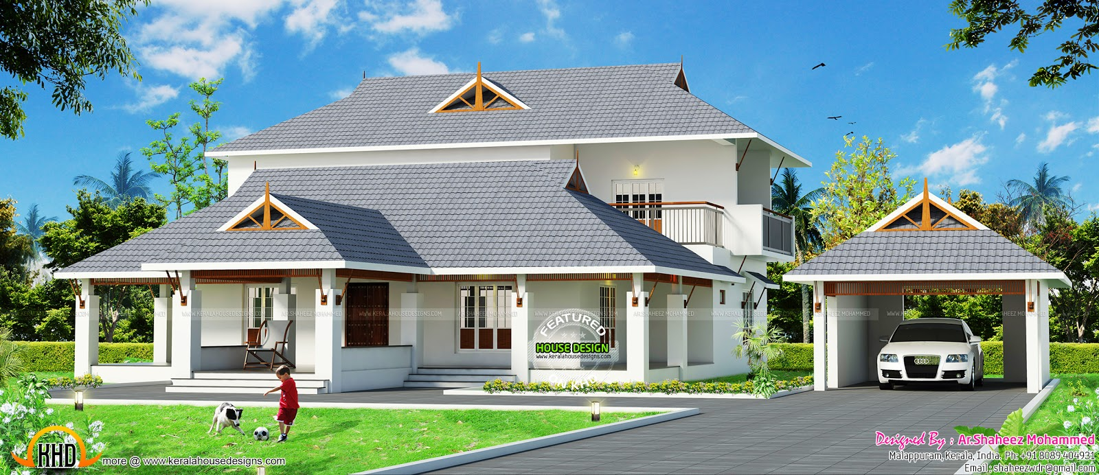 Kerala traditional mix home with separate garage kerala for Traditional garage