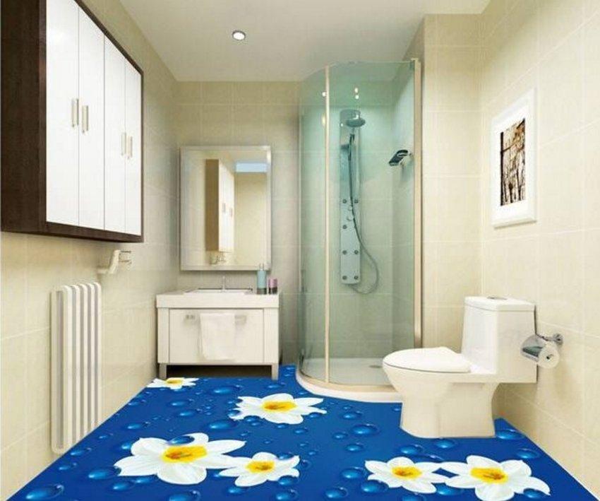 3D Floor Style On Bathroom 3