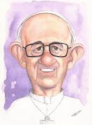 El nuevo Papa: Francisco I. Acuarela sobre papel. papa francisco rudy caricaturas merida