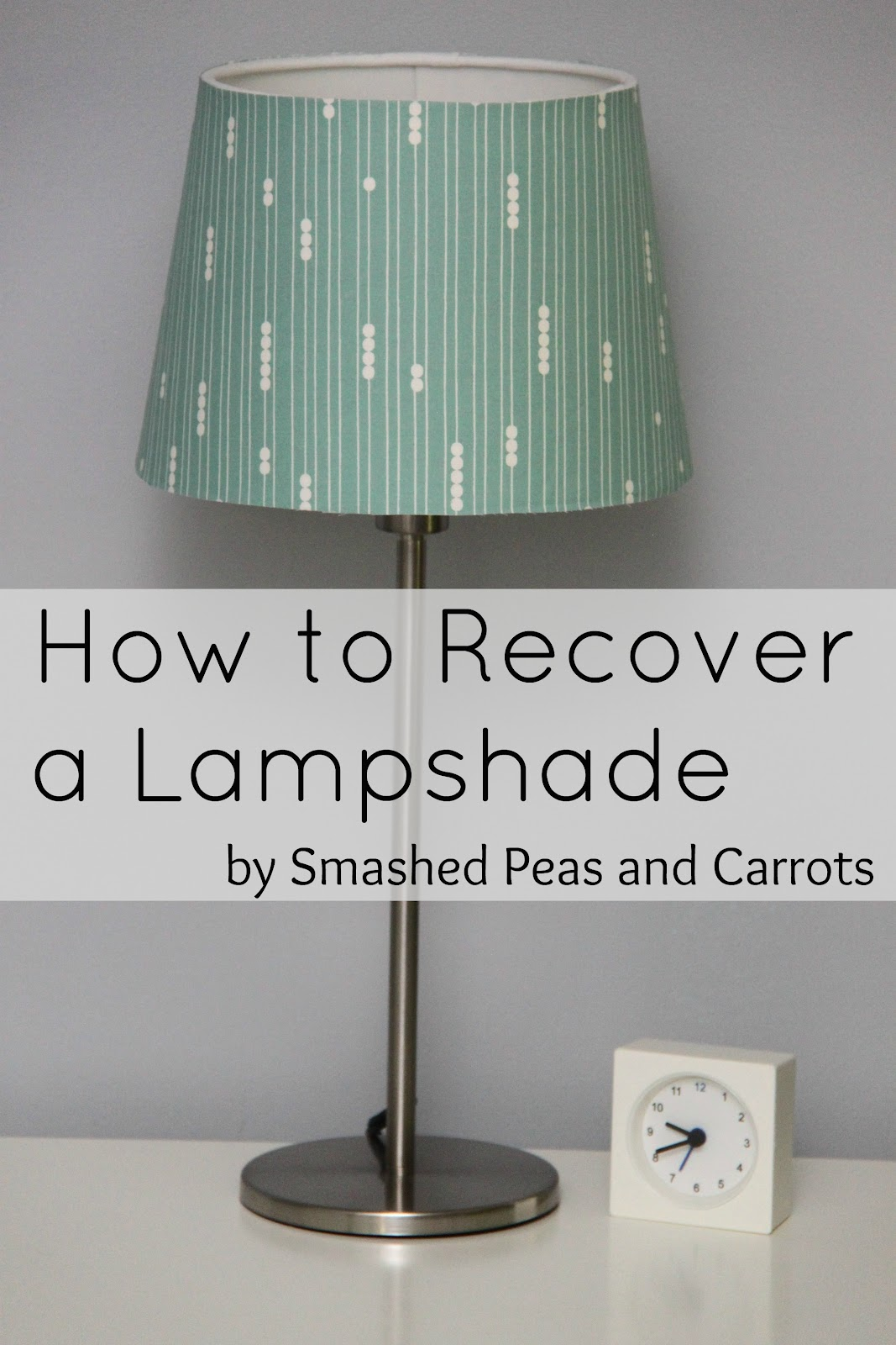 How to recover a lampshade tutorial smashed peas carrots i bought these super plain and simple lampshades at ikea for just a few bucks and wanted to coordinate them with the room decor mozeypictures Image collections