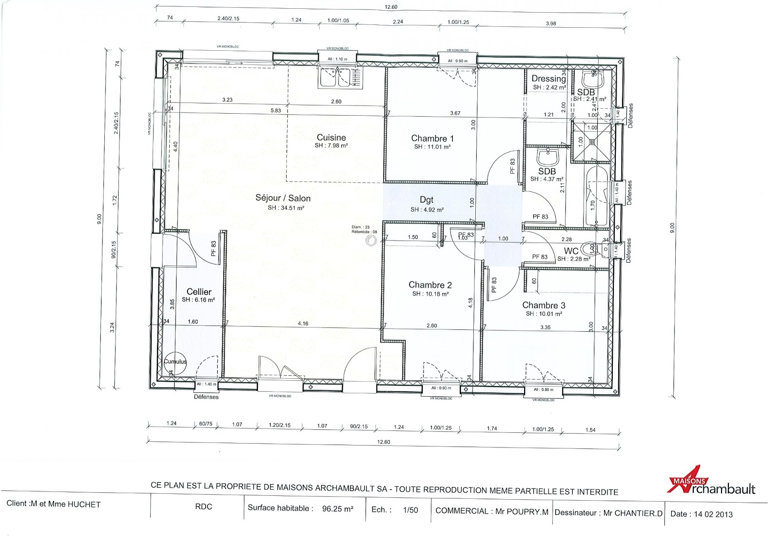 Plan interieur maison en l for Plan amenagement interieur