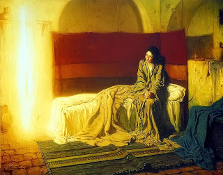 the annunciation of mary, painting, gabriel, mary, henry ossawa tanner