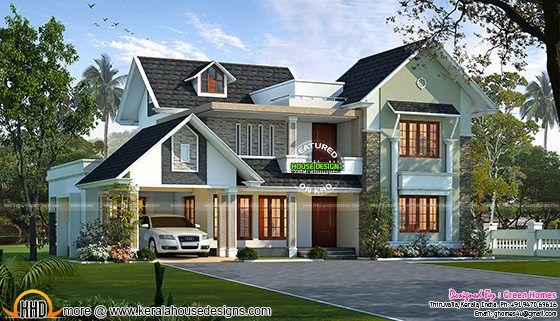 Stylish sloping roof house