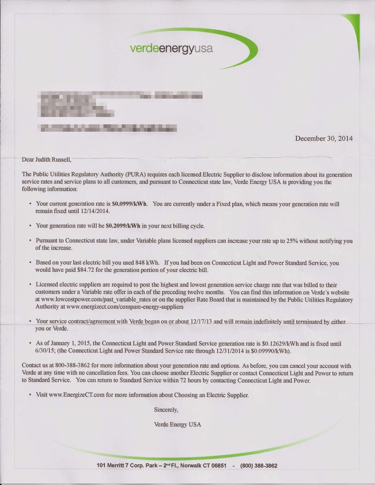 I Received A Letter This Afternoon From Verde Energy, My Electrical  Supplier.