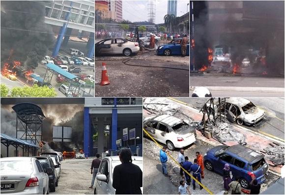 Gambar-gambar kereta terbakar di stesen LRT Taman Jaya, Isnin lalu.