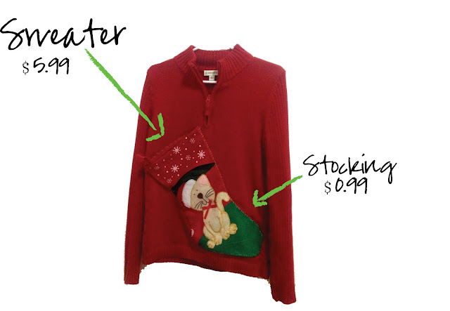 My thrifty chic diy ugly christmas sweaters my second creation is also extremely simple to make i call it my wreath sweater the dollar stores all have these pre made wreaths so all i did was hand solutioingenieria Image collections