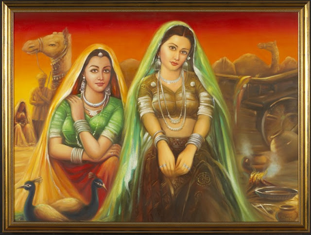 Rajasthani Girls Art Paintings 29