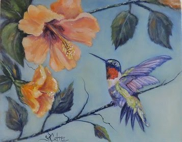 Hummingbird and Hibiscus- SOLD!