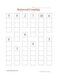 Free Printable Kindergarten Worksheets, Free Worksheets, Kids Maths Worksheets, Maths Worksheets, Kindergarten Backward Counting Worksheets, Backward Counting, Kindergarten, Kids Backward Counting Worksheets