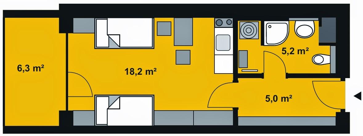 Půdorys apartmánu 1+KK s rozlohou 30m2