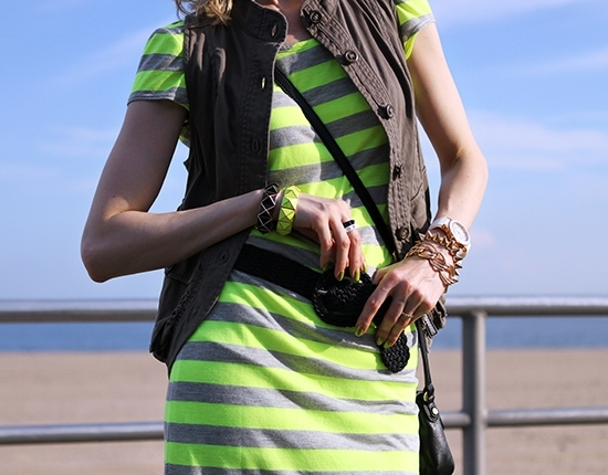 The Wind of Inspiration Outfit of the Day Post - Weekend Uniform - Velvet Torch Stripe Scoop Back Dress Vintage Braided Belt Asos Casual Vest Green Forever 21 Pyramid Stud Neon Bracelet