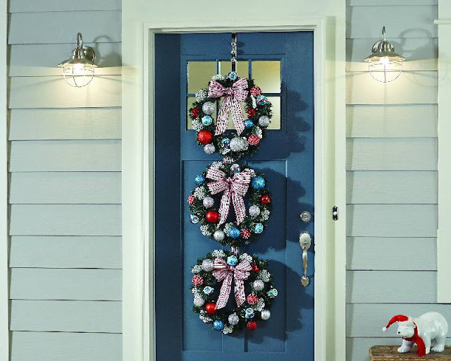 The Home Depot Workshop, blue door, front porch, ornaments,