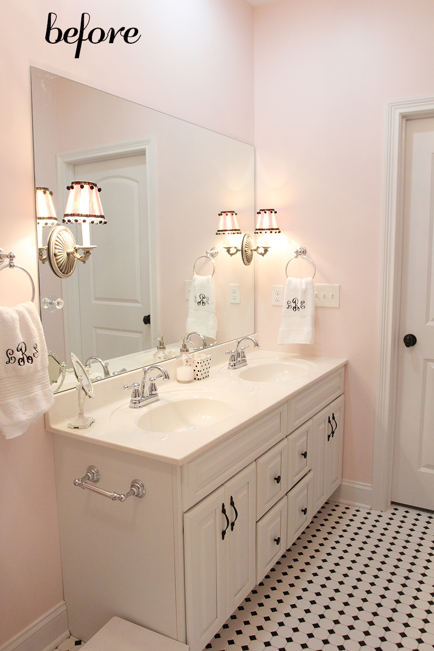 Girls bathroom mini makeover in one afternoon less for Pink and gold bathroom accessories