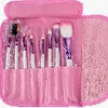 Image: FOONEE 8pcs Professional Cosmetic Makeup Brush Set With Pink Letter Print Bag