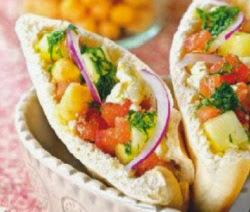Receta Pita garbanzos verduras