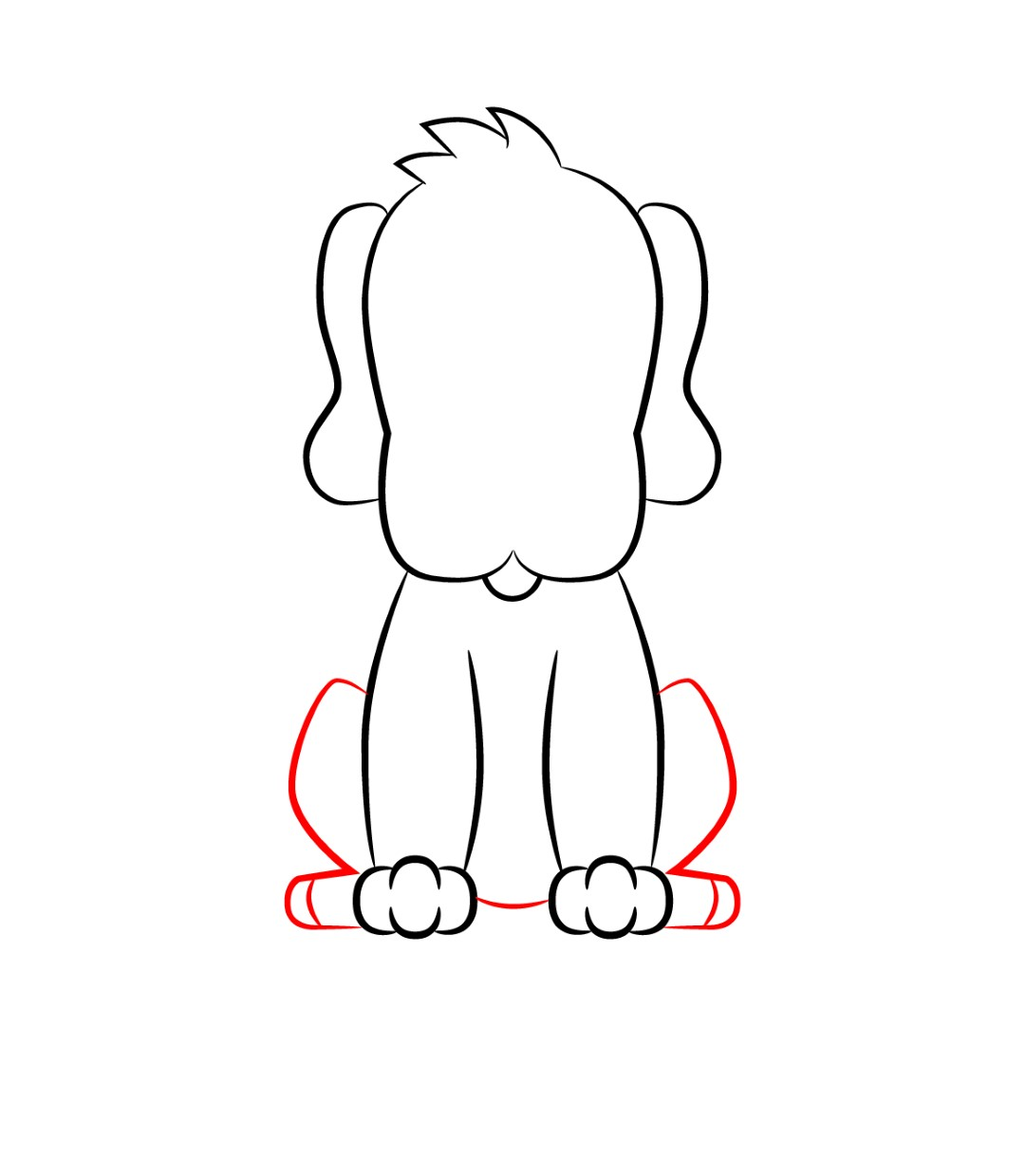 how to draw a cartoon dog step 4