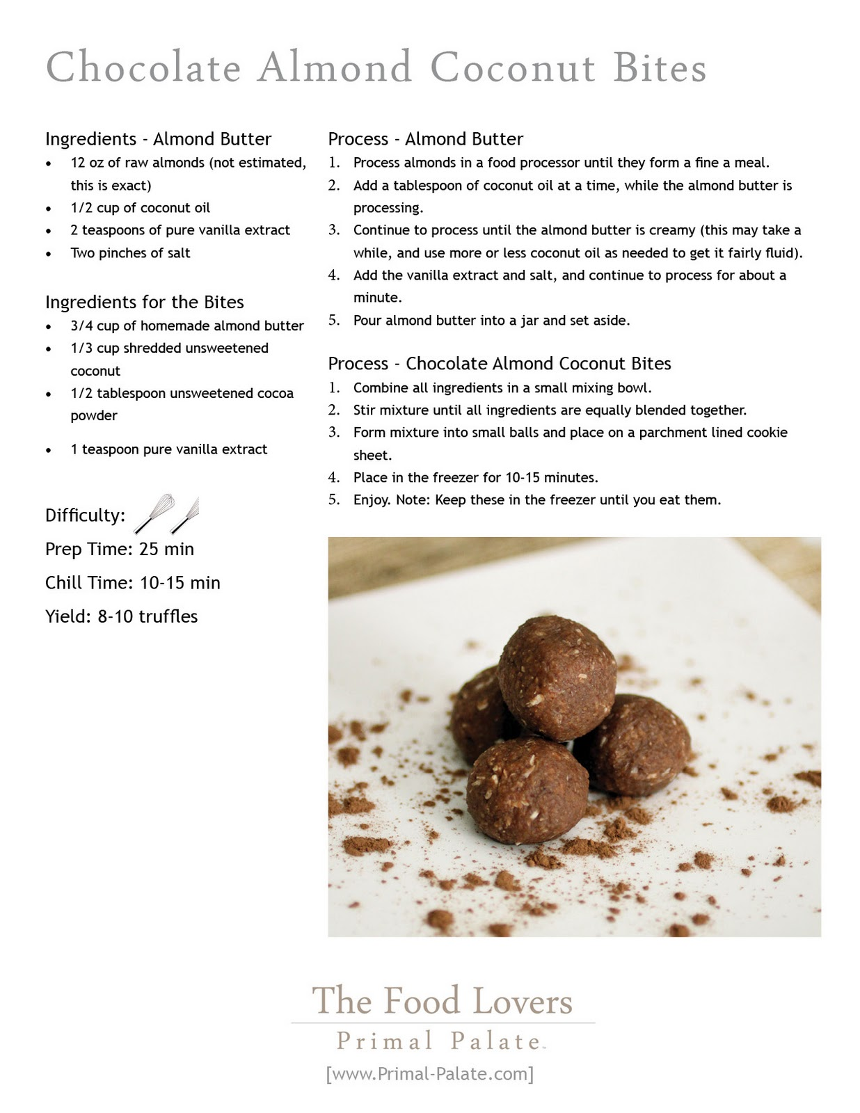 Chocolate Almond Coconut BitesPrimal Palate Paleo Recipes