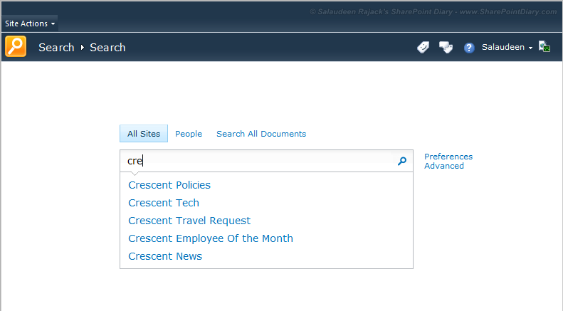 sharepoint 2010 search query suggestions