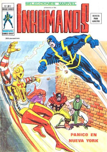 Portada de Los Inhumanos-Selecciones Marvel Volumen 1 Nº 2 Ediciones Vértice